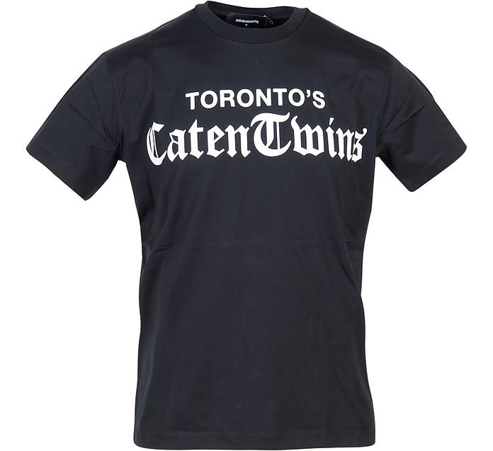Caten Twins Print Black Cotton Men's T-Shirt - DSquared