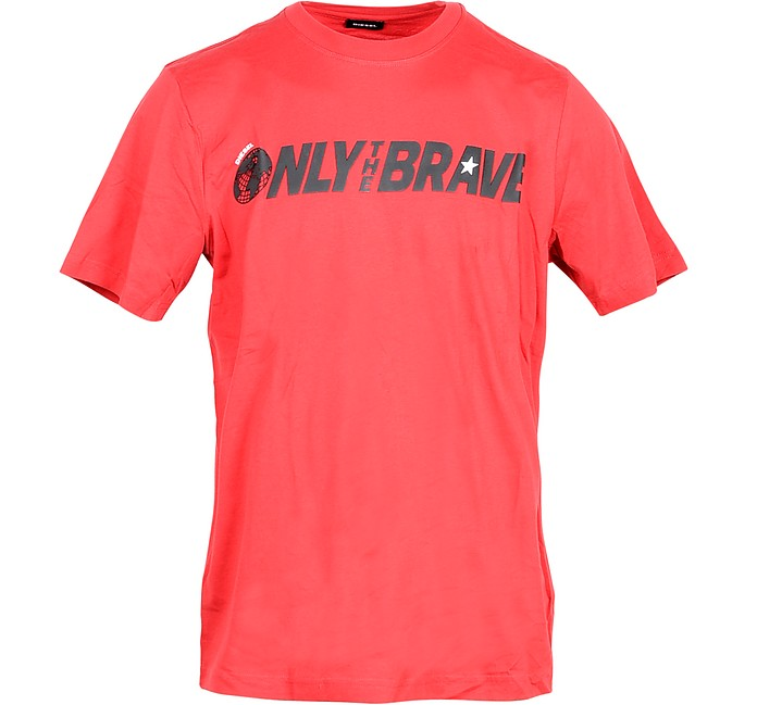 Only The Brave Print Red Cotton Men's T-shirt - Diesel