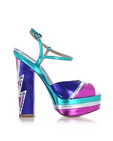 Ziggy Glam Flash - Sandales à Talons avec Plateforme en Cuir Métallisé Multicolore  - DSquared2