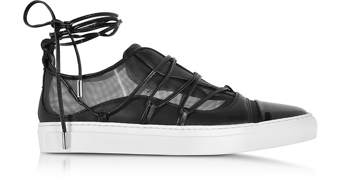 Dsquared2 Designer Shoes, Mesh and Leather Slip on Riri Sneakers