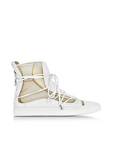 Nude Mesh and White Leather High Top Riri Sneakers - DSquared2