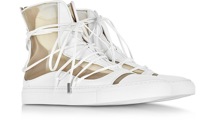 Dsquared2 Designer Shoes, Nude Mesh and Leather High Top Riri Sneakers