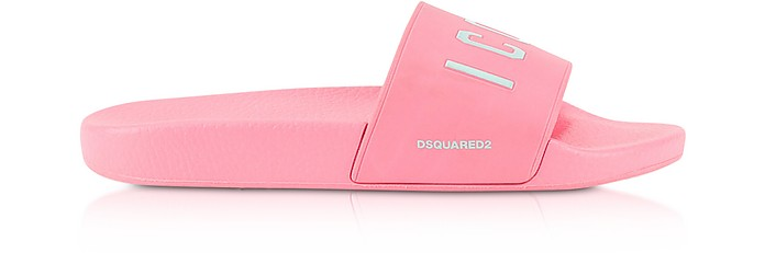 Icon Pink Rubber Slide Sandals - DSquared2