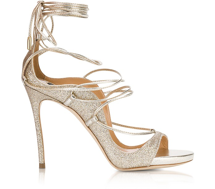 Golden Glitter High Heel Sandals  - DSquared2