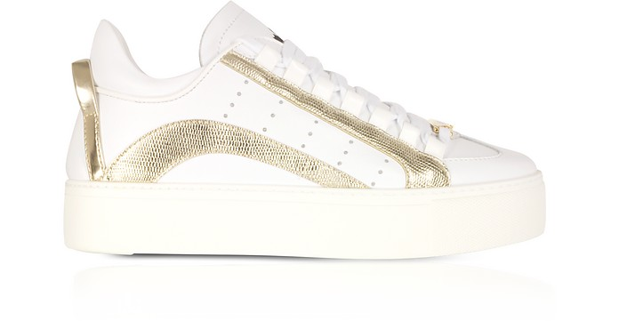 White and Gold Leather Women's Sneakers
