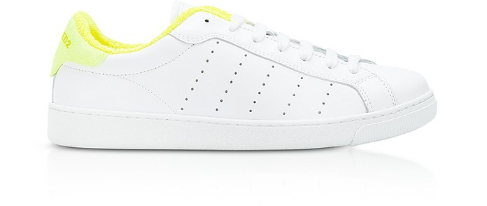 White and Neon Yellow Leather Women's Low Top Sneakers - DSquared2