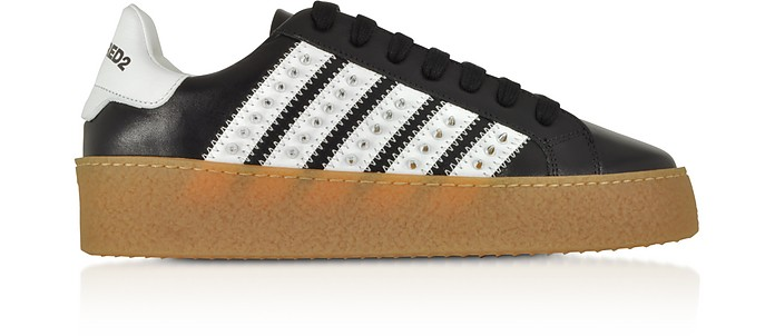 Black Studded Leather Women's Sneakers - DSquared