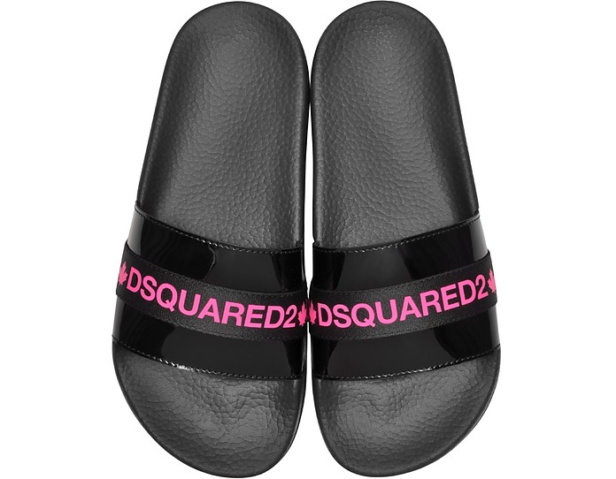 Black And Neon Pink Tape Women's Flip Flop Pool Sandals - DSquared