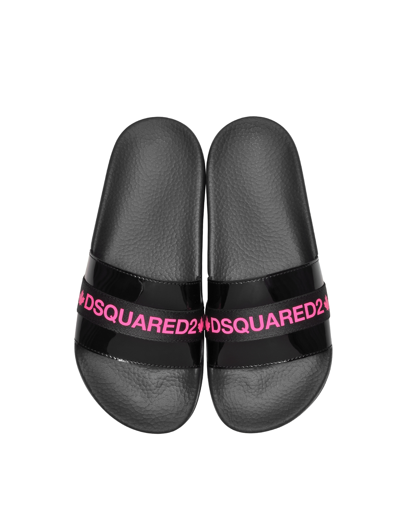 Dsquared2 Slippers BLACK AND NEON PINK TAPE WOMEN'S FLIP FLOP POOL SANDALS