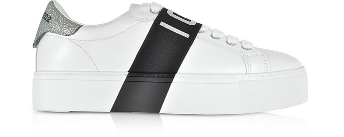 Low Top Leather and Glitter Women's Sneakers - DSquared2