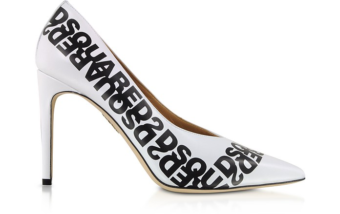 White Dsquared2 Printed Calf Leather Pumps - DSquared2