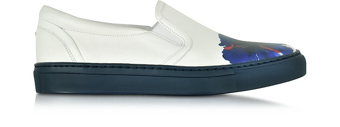 Essential White Nappa Slip On Sneaker w/Flower Print - DSquared2