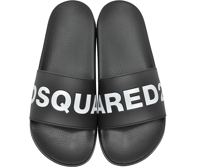 Black Signature Women's Flip Flop Pool Sandals - DSquared2 / ディースクエアード2