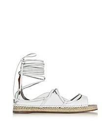 Riri White Nappa Leather Lace-up Flat Espadrilles - DSquared2