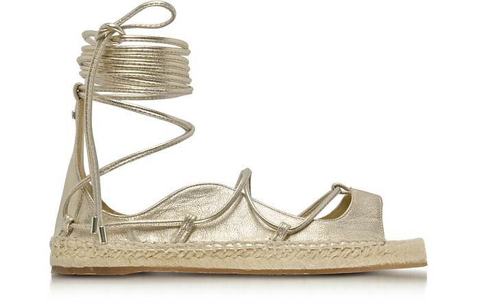 Riri Gold Laminated Nappa Leather Lace-up Flat Espadrilles - DSquared2