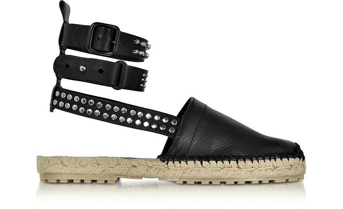 Rock & Cross Black Leather Ankle Wrap Flat Espadrilles w/Studs - DSquared2