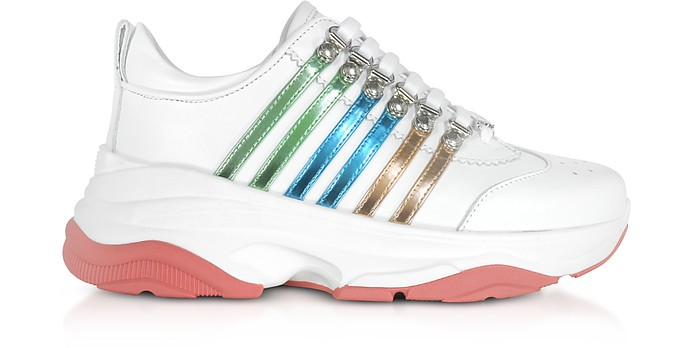 Bumpy 551 Women's White, Green & Blue Calf Leather Sneakers - DSquared