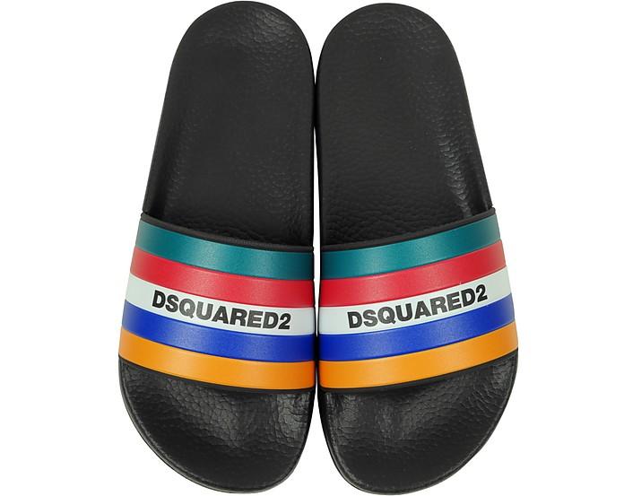 Slides da Donna in Gomma Nera e Righe Multicolor - DSquared2
