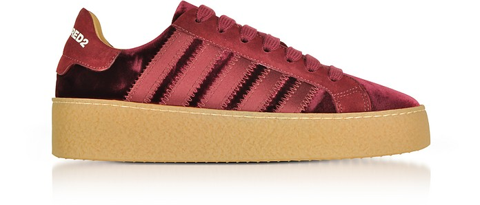 Burgundy Velvet and Satin Women's Sneakers - DSquared2