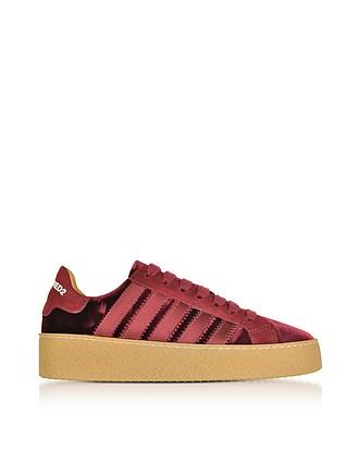 6d04439b75afdb Burgundy Velvet and Satin Women s Sneakers - DSquared2