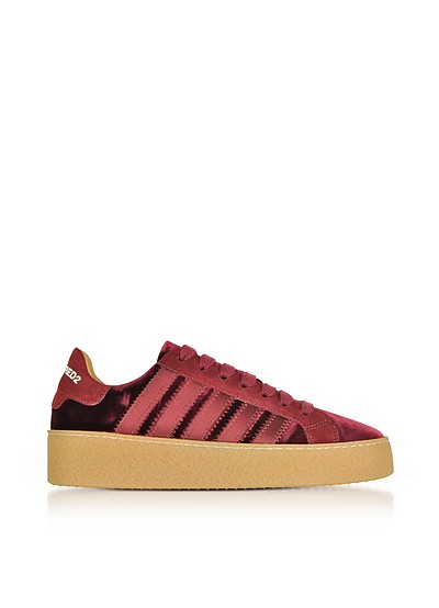 Burgundy Velvet and Satin Women's Sneakers - DSquared2