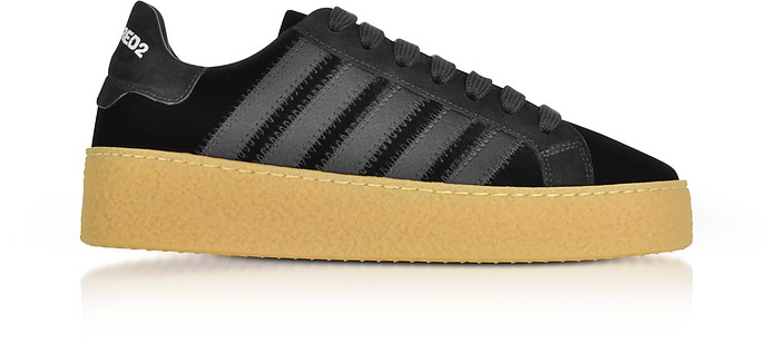 Sneakers New Runner in Velluto e Satin Nero - DSquared2