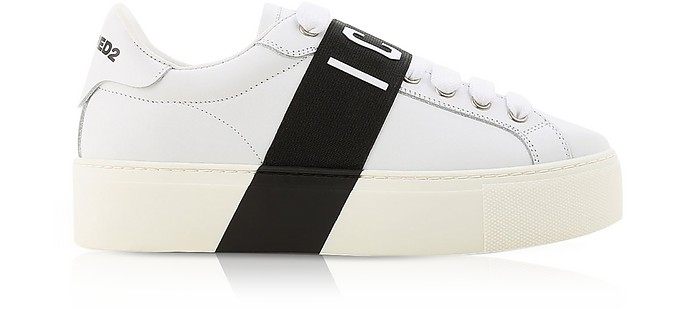 White Leather Icon Women's Sneakers w/Black Band - DSquared