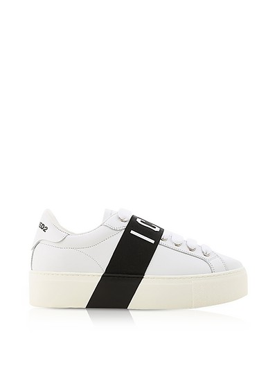 White Leather Icon Women's Sneakers w/Black Band - DSquared2