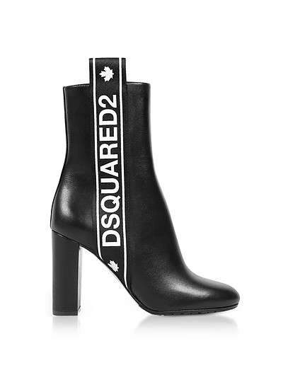 Bronx Hip Hop Dsquared2 Tape Black Leather Heel Ankle Boots - DSquared2