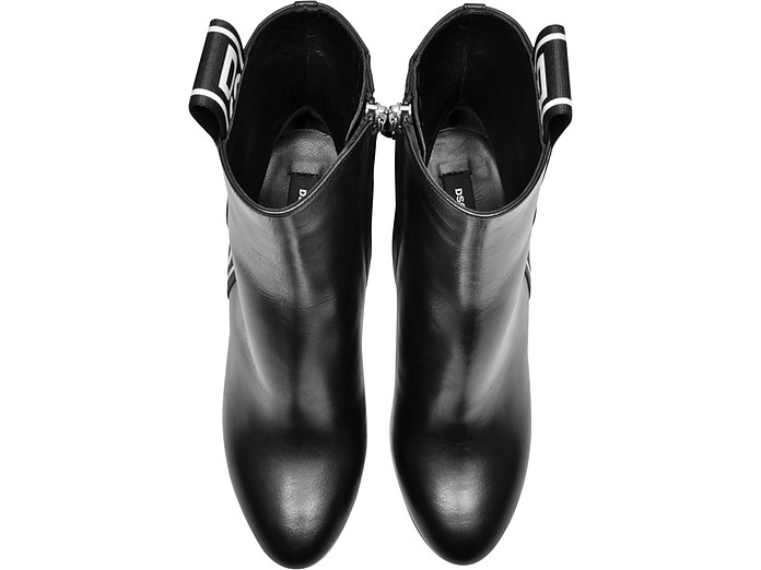watch 5e283 2dc99 Bronx Hip Hop Dsquared2 Tape Black Leather Heel Ankle Boots