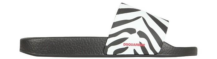 Sporty Zebra Slide Sandals - DSquared