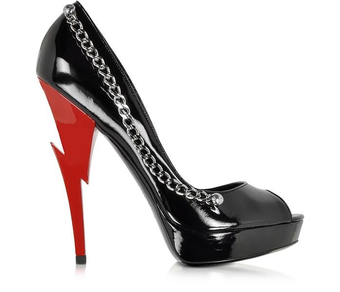 Black Patent Leather Open Toe Platform Pump - DSquared2