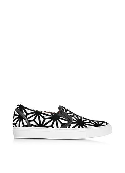 Basic White Leather and Black Velvet Slip On Women's Sneaker - DSquared2