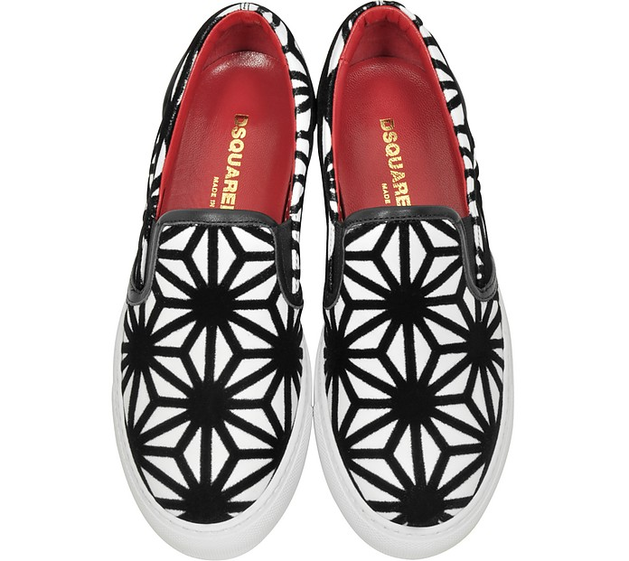 Basic Sneaker Slip On in Pelle e Velluto Optical DSquared2 37 (37 EU) uVEvBsiH