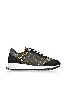 Damen Sneaker aus Wildleder und Leder mit Blumenmuster in schwarz - DSquared