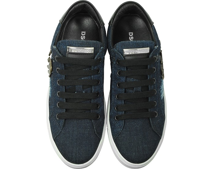Dsquared2 Designer Shoes, Washed Denim Tennis Club Women's Sneakers