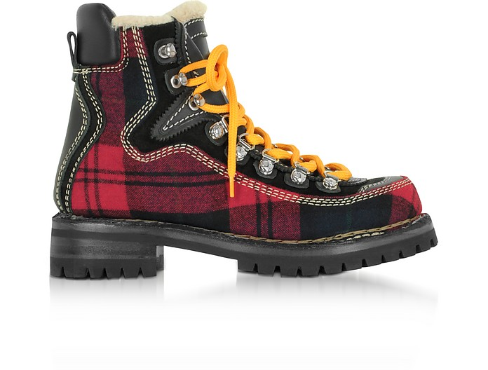 Red Tartan and Leather Canada Hiking Ankle Boots - DSquared2