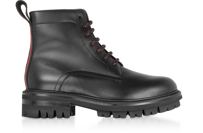 Signature Black Leather Combat Boots - DSquared