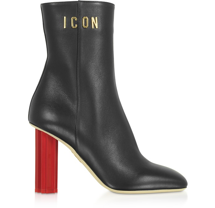 Black Leather Plexy High-Heel  Boots - DSquared2