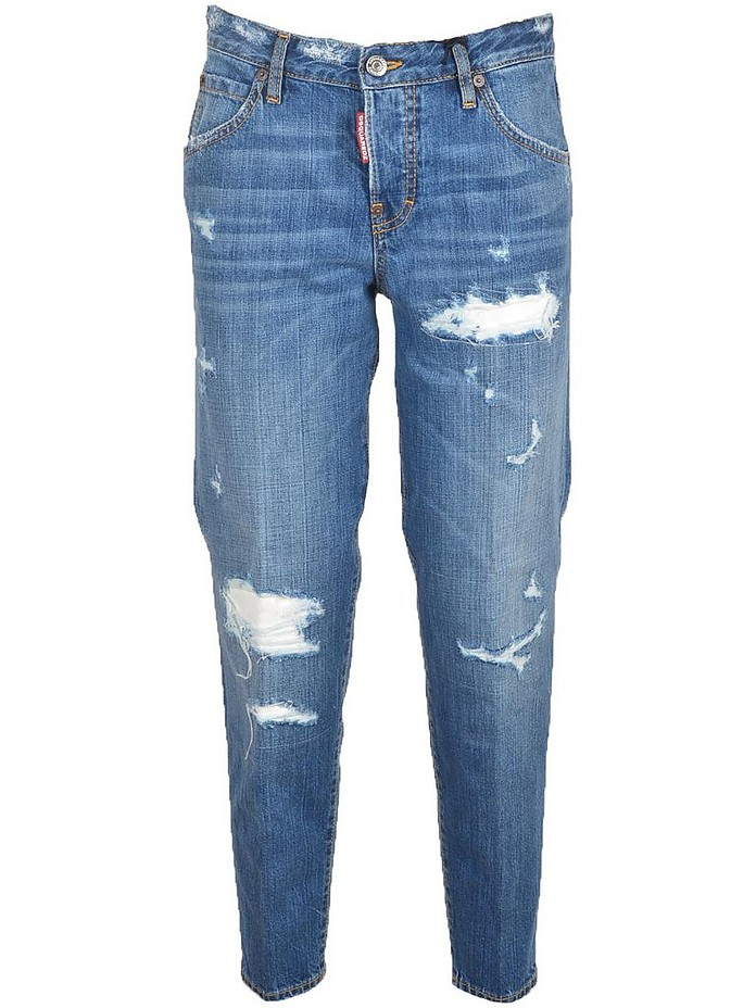 Blue Distressed Denim Women's Jeans - DSquared