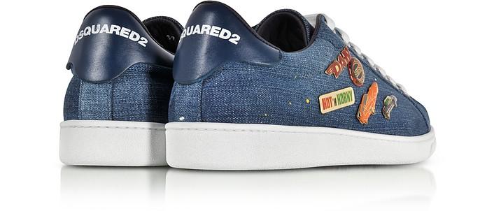 Santa Monica Sneaker in Denim e Pelle con Pin