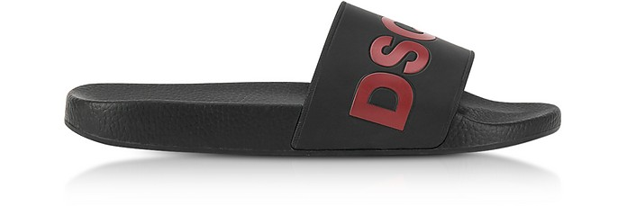 Red and Black Signature Rubber Slide Sandals - DSquared2