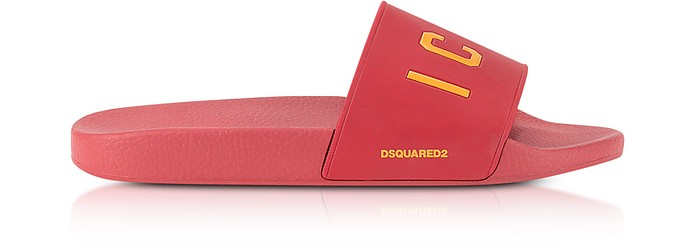 Icon Red Rubber Slide Sandals - DSquared2