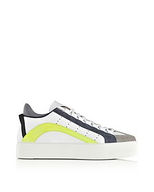 White, Blue and Neon Yellow Maxi Sole Men's Sneakers - DSquared2