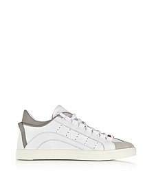 White and Gray Leather Low Top Men's Sneakers - DSquared D二次方