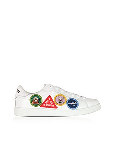 White Leather Men's Low Top Sneakers w/Patches - DSquared2