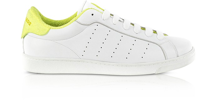 White and Neon Yellow Leather Men's Low Top Sneakers - DSquared2