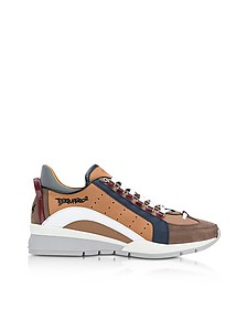 Brown Nylon and Gommato Leather Men's Sneakers - DSquared2