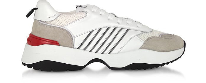White Leather and Suede Men's Sneakers