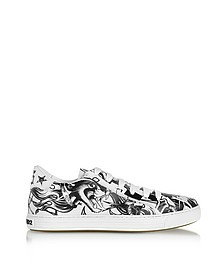 Black & White Tattoo Printed Leather Men's Sneakers - DSquared2